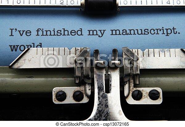 Manuscript on typewriter machine - csp13072165