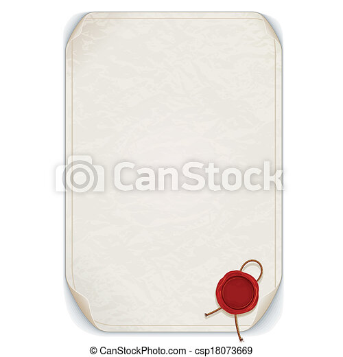 Manuscript Scroll with Wax Seal. Vector Isolated - csp18073669