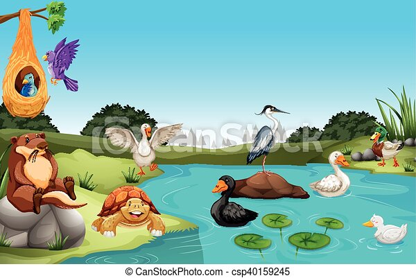 Many animals living by the pond illustration.