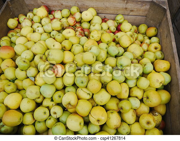 many apples in wooden boxes - csp41267814