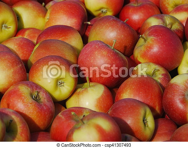 many apples in wooden boxes - csp41307493