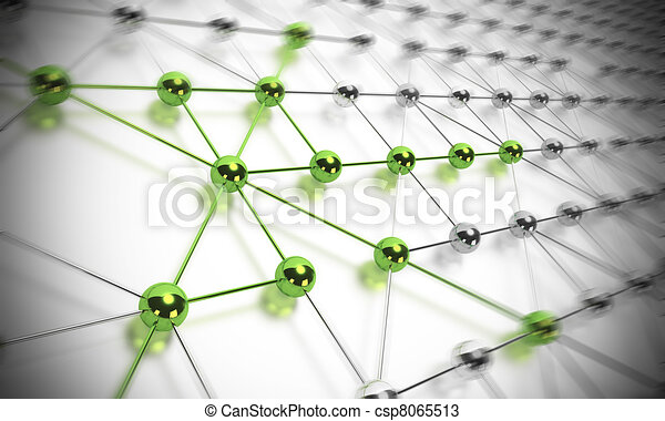 many balls linked together and composing a network, some shp?res are green and others are made in chrome material, blur effet - csp8065513