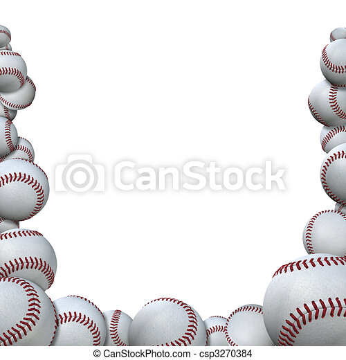 Many Baseballs form Baseball Season Sports Border - csp3270384