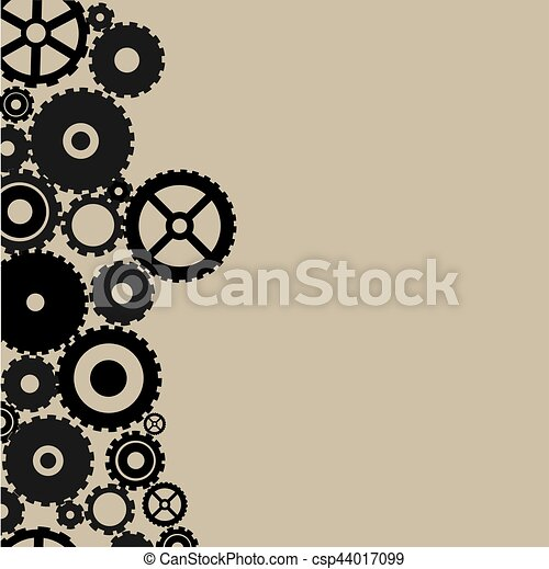 Many black gears on light brown background - csp44017099