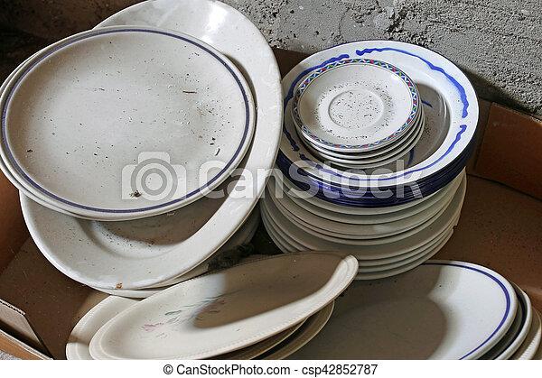 many ceramic plates and bowls broken - csp42852787 & Many ceramic plates and bowls broken and dirty for sale in ...
