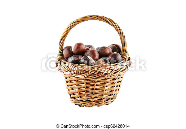Many chestnuts in crib isolated on white background - csp62428014