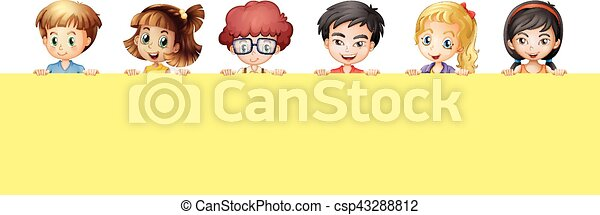 Many children holding yellow sign - csp43288812