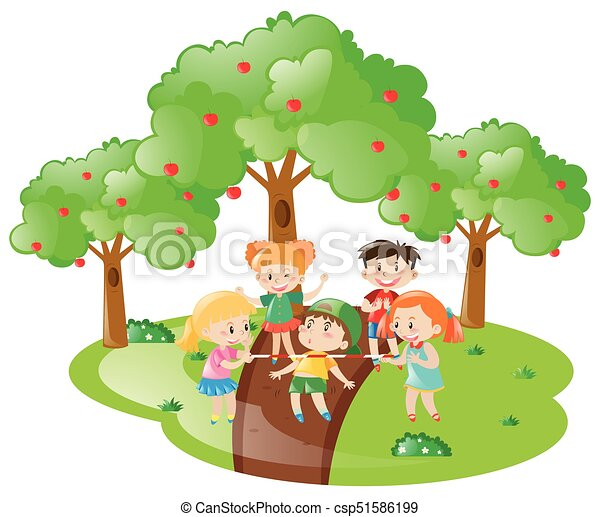 Many children playing game in the garden - csp51586199
