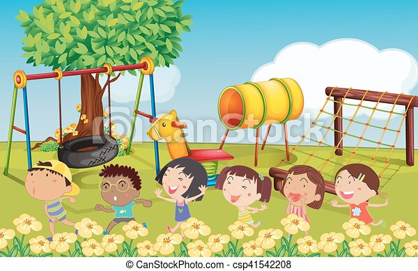 Many children playing in the park - csp41542208