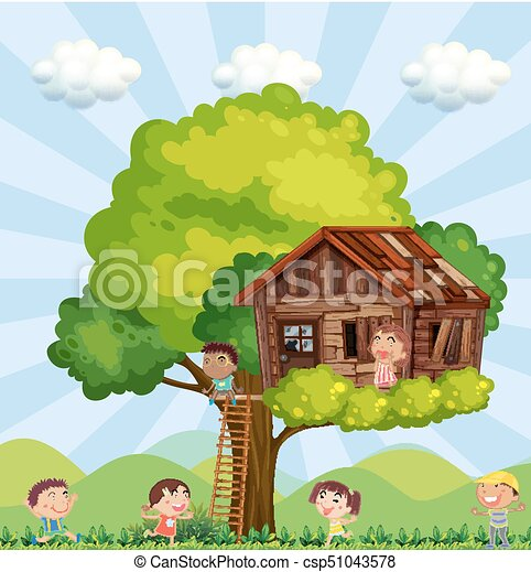 Many children playing in the treehouse - csp51043578