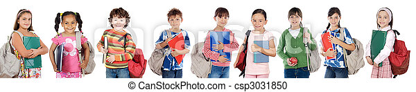 Many children students returning to school - csp3031850