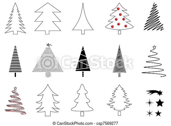 Many christmas trees - csp7569277