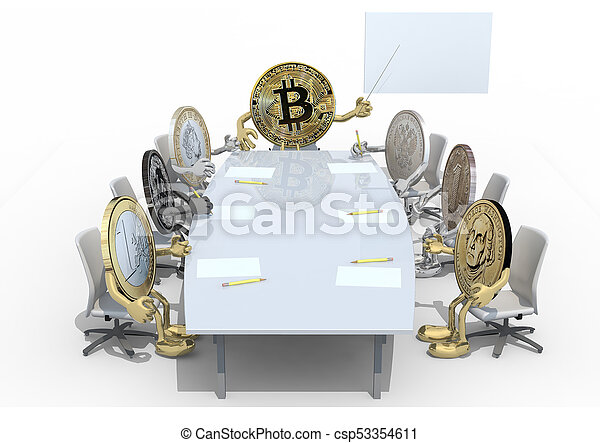 many coins different around the table - csp53354611