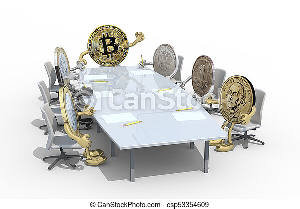 many coins different around the table - csp53354609