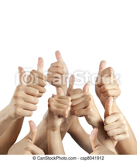 many different hands with thumbs up isolated on white - csp8041912