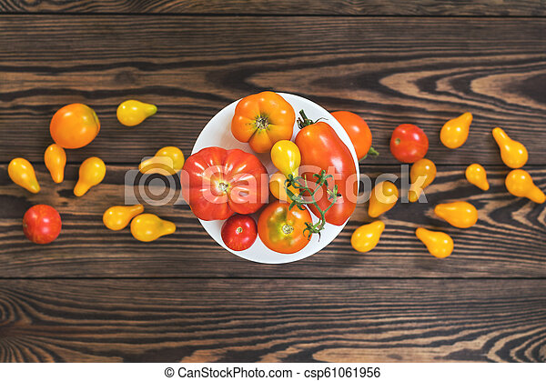 Many different red orange yellow tomatoes on dark wooden surface. - csp61061956