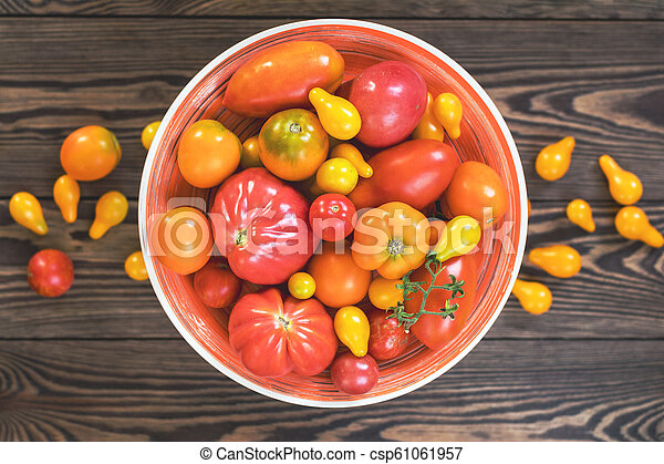 Many different red orange yellow tomatoes on dark wooden surface. Beautiful food art background, top view. - csp61061957