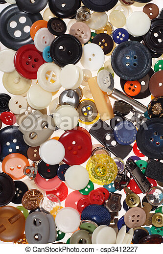 Many different sized and shaped buttons - csp3412227