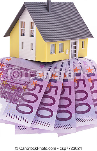 many euro bills and a house - csp7723024