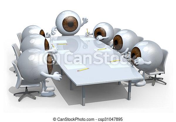 many eyeballs meeting around the table - csp31047895
