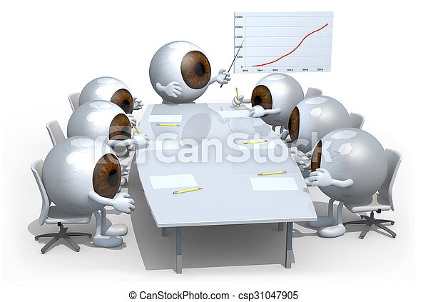 many eyeballs meeting around the table - csp31047905