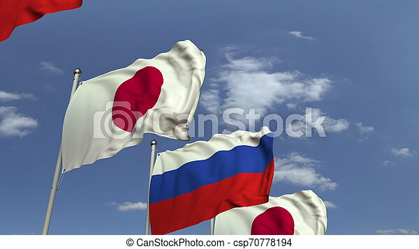 Many flags of Japan and Russia, 3D rendering - csp70778194