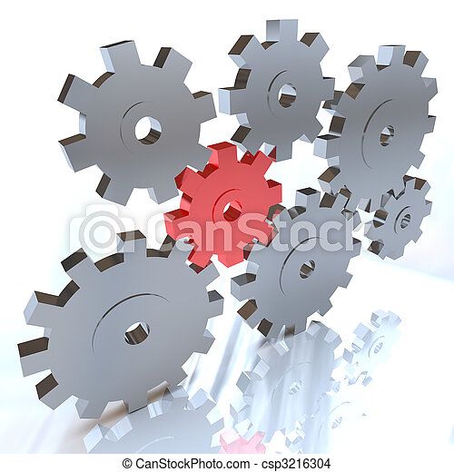 Many Gears Turning Together, One in Red - csp3216304