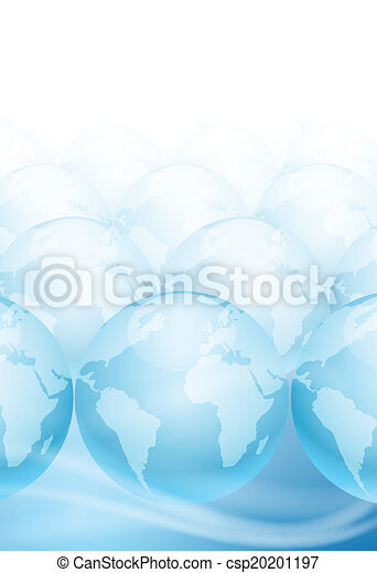 Many globes on a blue background with place for text - csp20201197