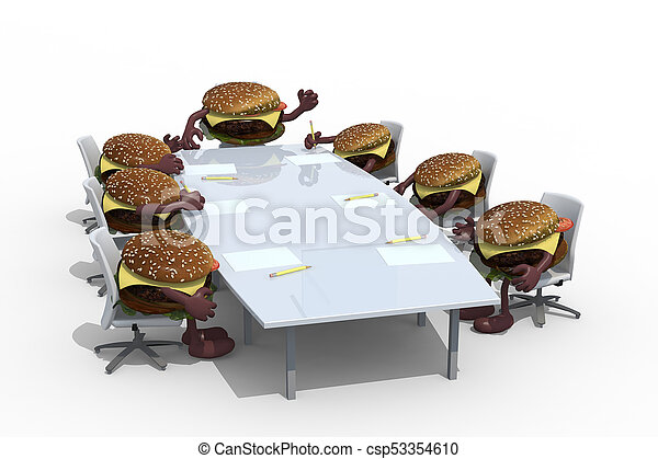 many hamburger meeting around the table and follow their boss - csp53354610