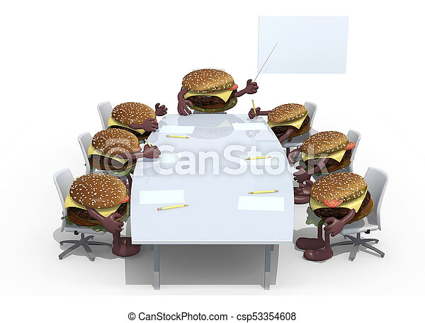 many hamburger meeting around the table and follow their boss - csp53354608