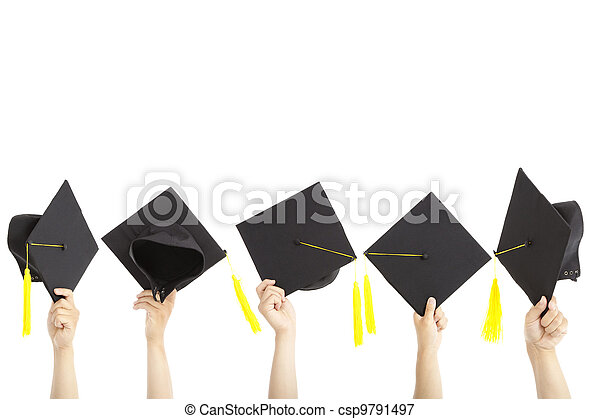 many hand holding graduation hats and isolated on white - csp9791497