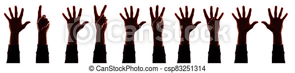 Many hand's young man with fingers apart, numbers - silhouette, concept - csp83251314