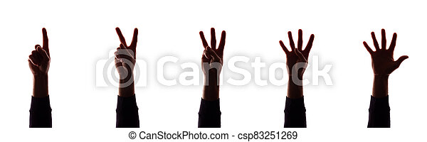 Many hand's young man with fingers apart, numbers - silhouette, concept - csp83251269