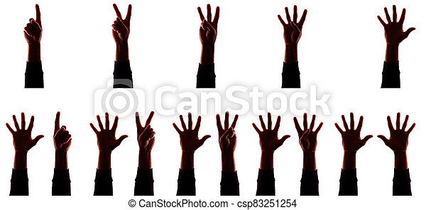 Many hand's young man with fingers apart, numbers - silhouette, concept - csp83251254