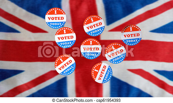 Many I Voted Today paper stickers on UK Flag - csp61954393