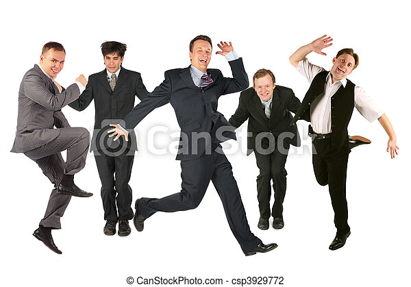 Many jumping men on the white - csp3929772