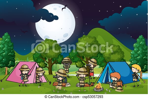 Many Kids Camping Out In The Woods At Night