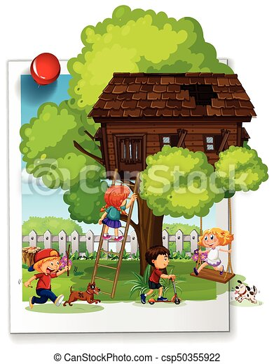 Many kids playing at the treehouse - csp50355922