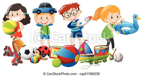 Many Kids Playing With Toys Illustration