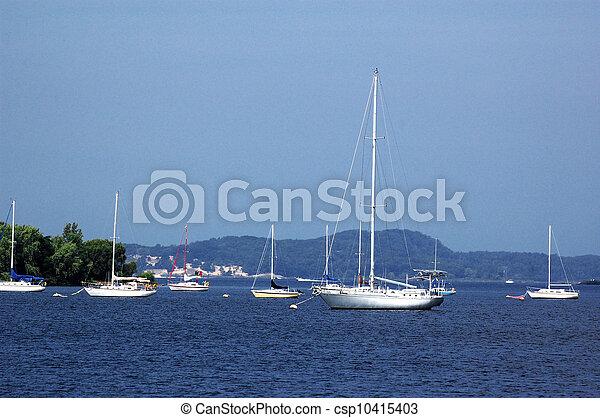 Many moored boats near shore - csp10415403