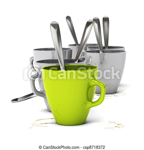 many mugs over white background one red and five grey. Dirty coffee stain on the table, concept of morning meeting. - csp8718372
