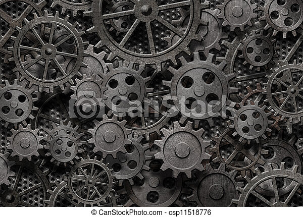 many old rusty metal gears or machine parts - csp11518776