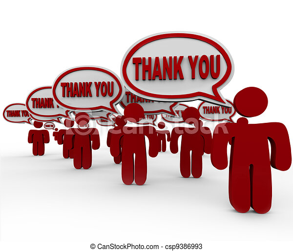 Many People Customers Say Thank You in Speech Bubbles - csp9386993