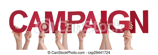 Many People Hands Holding Red Straight Word Campaign - csp29441724