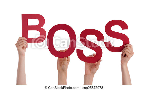 Many People Hands Holding Red Word Boss - csp25873978