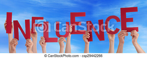 Many People Hands Holding Red Word Influence Blue Sky - csp29442266