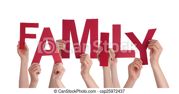 Many People Hands Holding Red Word Family - csp25972437