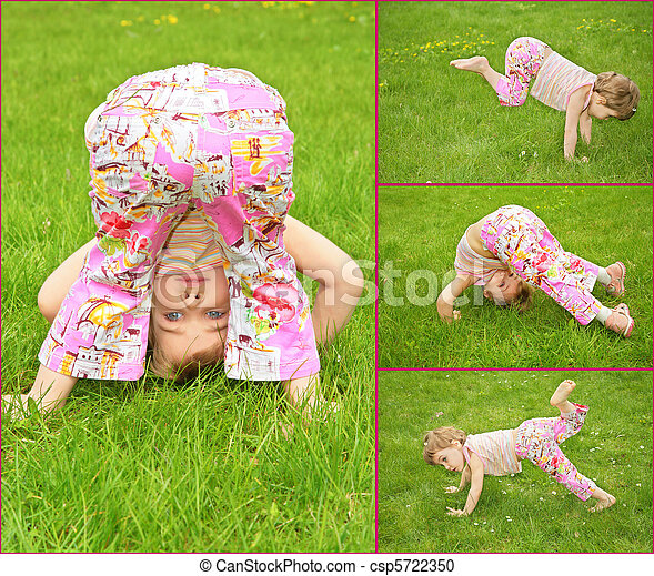 many pictures of girl in on grass, collage - csp5722350