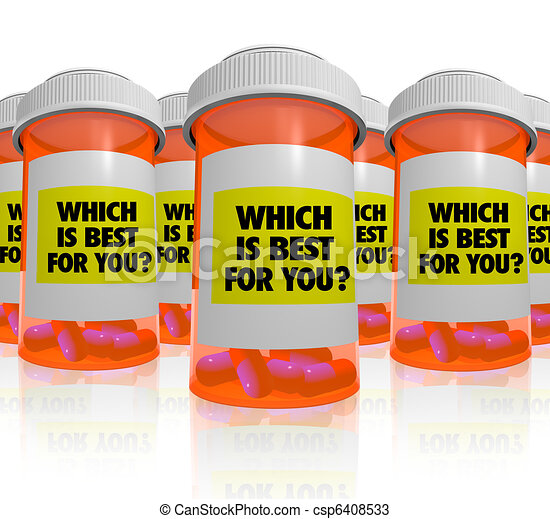 Many Prescription Bottles - Which Medicine is Best - csp6408533