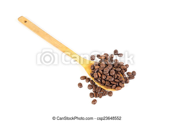 Many roasted coffee beans. White background. Isolated. - csp23648552